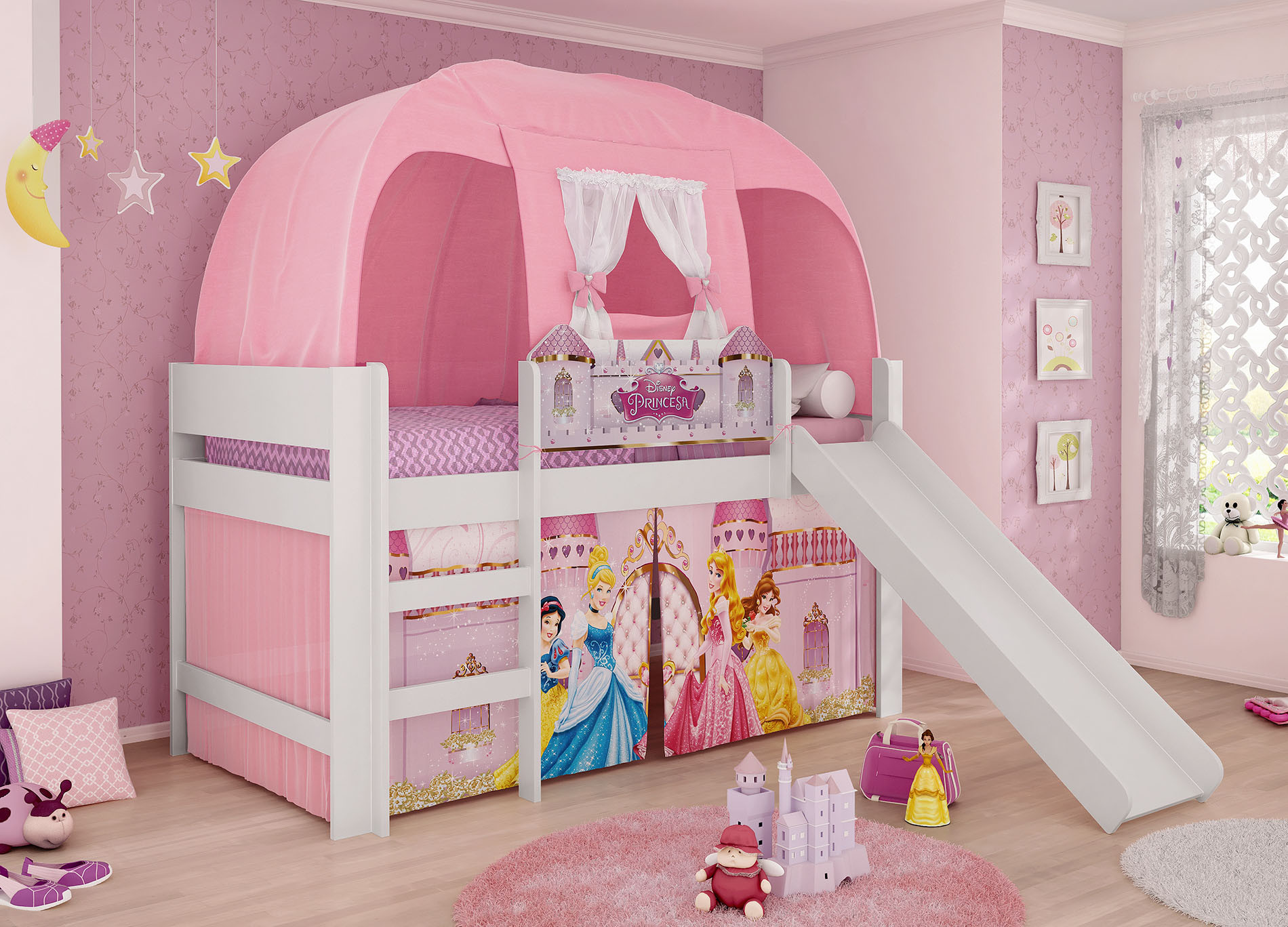 Cama princesas disney play completa escorregador escada cortina e barraca original pura magia - Cama infantil original ...