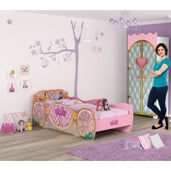 Quarto Infantil com Cama Princesas Disney Star e Guarda Roupa Castelo Pura Magia