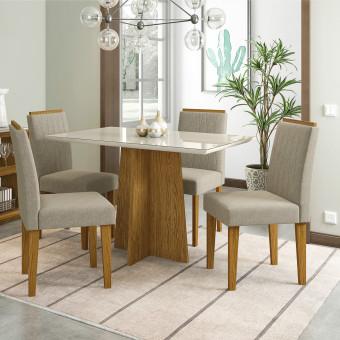 Conjunto Sala de Jantar Ana Com Tampo de Vidro e Cadeiras Estofadas Ana New Ceval