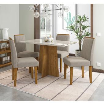 Sala de Jantar Ana Com Tampo de Vidro Off White e 4 Cadeiras Estofadas Veludo Linho Bege New Ceval