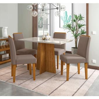 Sala de Jantar Ana Com Tampo de Vidro Off White e 4 Cadeiras Estofadas Veludo Chocolate New Ceval