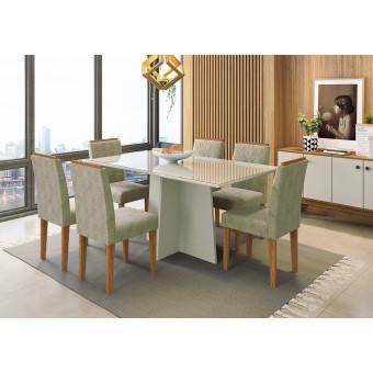 Sala de Jantar Ana Com Tampo de Vidro 160x90 Off White 6 Cadeiras Estofadas Suede Fendi New Ceval