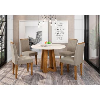 Sala de Jantar Isabela Mesa Redonda Ype Vidro Off White e 4 Cadeiras Veludo Linho Bege - New Ceval