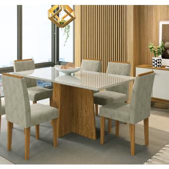 Sala de Jantar Ana Com Tampo de Vidro 160x90 Off White 6 Cadeiras Estofadas Ype Fendi New Ceval