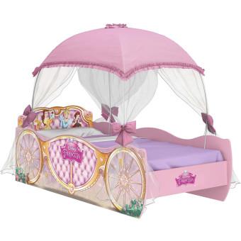 Cama Infantil com Dorsel Rosa e Laços em Cetim Princesas Disney - Pura Magia