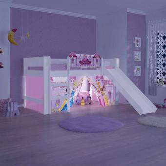 Cama Princesas Disney Play com Luz de Led Escada Cortina e Escorregador - Pura Magia