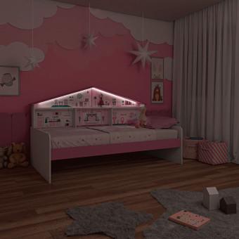 Cama Infantil Casa de Boneca com Prateleiras e Luz de Led - Pura Magia