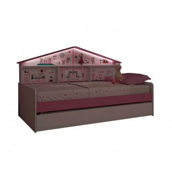 Bicama Infantil Casa de Boneca com Cama Auxiliar e Cabeceira com Nichos e ILuminação com Luz de Led - Pura Magia