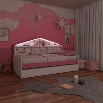 Cama Infantil Casa de Boneca com Cama Auxiliar e Luz de Led - Pura Magia