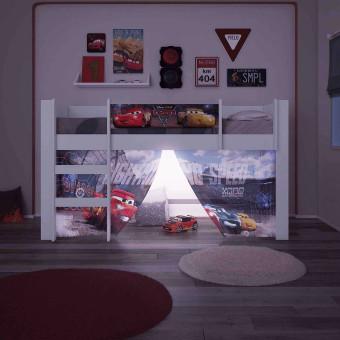 Cama Elevada Carros Disney Play com Luz de Led Escada e Cortina - Pura Magia