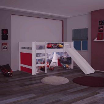 Cama Infantil Elevada Carros Disney Play com Luz de Led Escada e Escorregador - Pura Magia