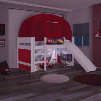 Cama Carros Disney Play com Luz de Led Escada Escorregador Cortina e Barraca - Pura Magia