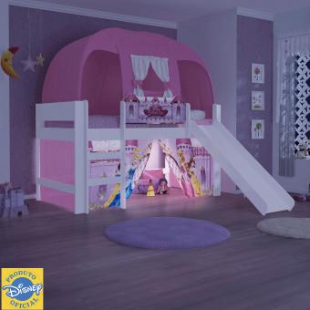Cama Elevada com Luz de Led Escada Cortina e Barraca Rosa Princesas Disney Play - Pura Magia