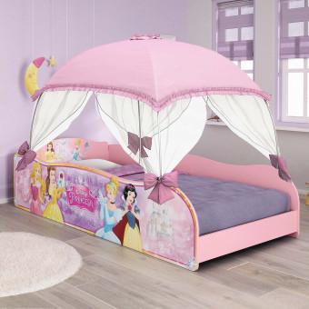 Cama Infantil com Dorsel Rosa e Laços em Cetim Princesas Disney Plus - Pura Magia