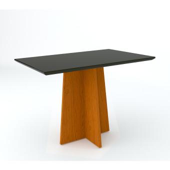 Mesa de Jantar Retangular 1,20x80 Ana Ype com Vidro Preto - New Ceval