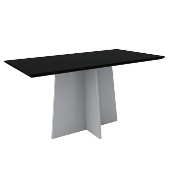 Mesa de Jantar Retangular Ana 1,60x90 Off White com Vidro Laqueado Preto - New Ceval
