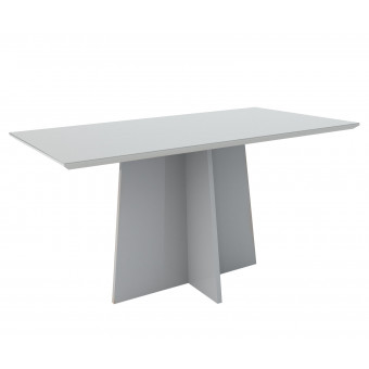 Mesa de Jantar Retangular Ana 1,60x90 Off White com Vidro Laqueado - New Ceval