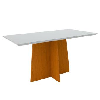 Mesa de Jantar Retangular Ana 1,60x90 Ype com Vidro Laqueado Off White - New Ceval