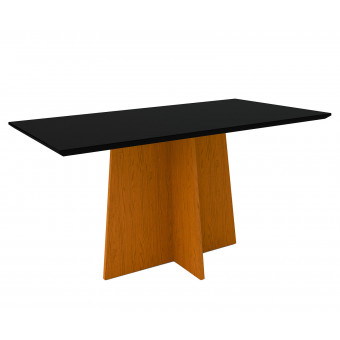 Mesa de Jantar Retangular Ana 1,60x90 Ype com Vidro Laqueado Preto - New Ceval