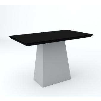 Mesa de Jantar Retangular 1,20x80 Barbara Off White com Vidro Preto - New Ceval