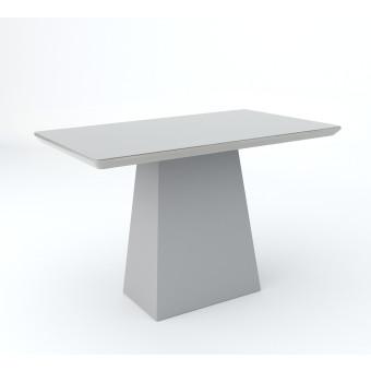 Mesa de Jantar Retangular 1,20x80 Barbara com Vidro Off White - New Ceval