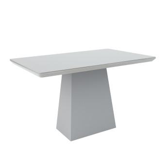 Mesa de Jantar Retangular Barbara 1,35x90 Off White com Vidro Laqueado - New Ceval
