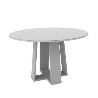 Mesa de Jantar Redonda Isabela 1,35 com Vidro Off White - New Ceval