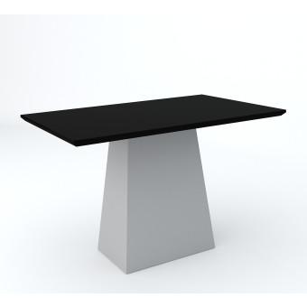 Mesa de Jantar Retangular 1,20x80 Jasmin Off White com Vidro Preto - New Ceval