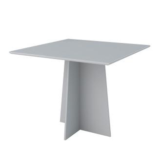 Mesa de Jantar 1,00x1,00 Marina com Vidro Off White - New Ceval