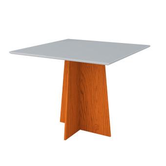 Mesa de Jantar 1,00x1,00 Marina Ype com Vidro Off White - New Ceval
