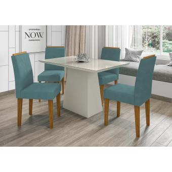 Sala de Jantar Mesa Jasmin Tampo Vidro Off White 4 Cadeiras Amanda Ype Veludo Suede azul New Ceval