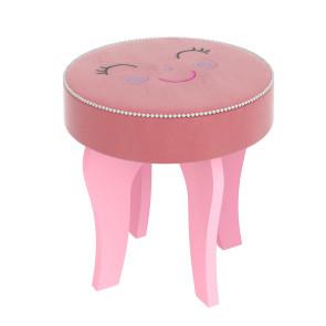 Banqueta Estofada Rosa Smile Premium 35cm com Bordado Smile e Bordas Pompom Pura Magia