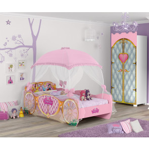 Jogo de Quarto Infantil Cama Princesas Disney Star com Dorsel e Roupeiro Castelo Pura Magia