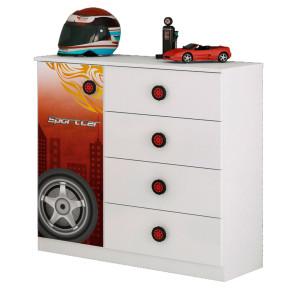 Cômoda Infantil Sport Car Branco/Vermelho/Preto - Móveis Estrela