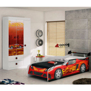 Quarto Infantil Sport Car com Cama, Aerofólio e Guarda Roupa Branco/Vermelho/Preto - Móveis Estrela