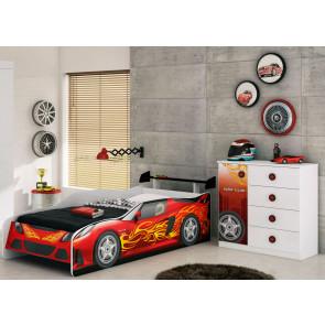 Quarto Infantil Sport Car Com Cama, Aerofólio e Cômoda Branco/Vermelho/Preto - Móveis Estrela