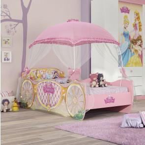Cama Infantil Princesas Disney Carruagem Star Com Dossel e Cristais - Pura Magia