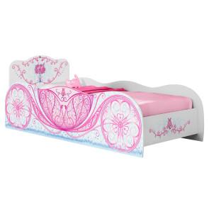 Cama Infantil Carruagem com Pedras Decorativas Branca/Rosa - Móveis Estrela