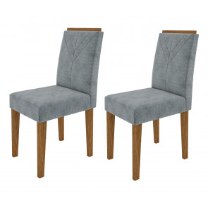 Kit com 2 Cadeiras Estofadas Amanda Cor Ype com Tecido Suede Pena Azul - New Ceval