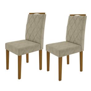 Kit com 2 Cadeiras Estofadas Isabela Cor Ype com Tecido Suede Pena Areia - New Ceval