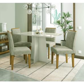 Sala de Jantar Ana com Tampo de Vidro Off White e 4 Cadeiras Estofadas Suede Fendi New Ceval