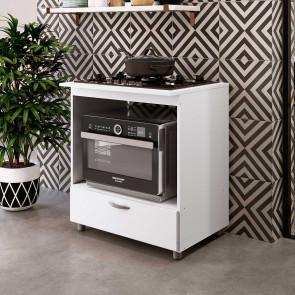 Balcão de Cozinha para Forno e Cooktop 5 Bocas Com Gaveta Branco - Completa Móveis